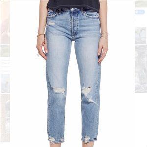 ✨MOTHER DENIM✨ Ripped straight leg jeans